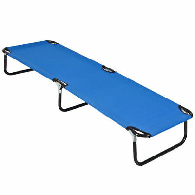 Outdoor Portable Folding Camping Bed Cot Military Sleeping Hiking Travel Blue ++