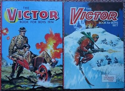 The Victor Book For Boys 2 X Annuals 1974 & 1977 War Comics Battle Warlord