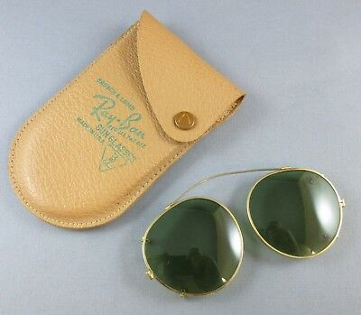 eb5b4c9ea5 Vintage Bausch   Lomb Ray Ban Clip On Sunglasses New Old Stock Leather Case