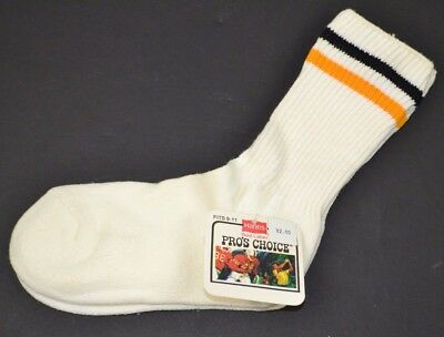 Vtg HANES Pro's Choice Striped Athletic Crew Socks Women's 9-11 Yellow/Black