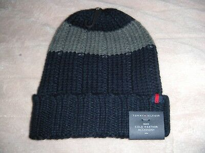 Tommy Hilfiger Youth Beanie Cap Hat Blue & Gray Charcoal Stripe $42.00 Small