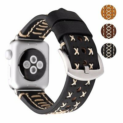 Genuine Solid Soft Stitched Leather Apple Watch Replacement Band iWatch Series