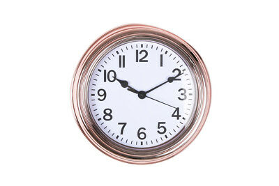 Small Antique Rose Gold Copper Round Vintage Kitchen Wall Clock 22cm