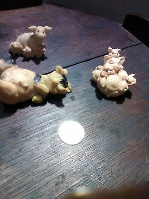 Resin Pig Figurine Lot of 3 Mama and Babies