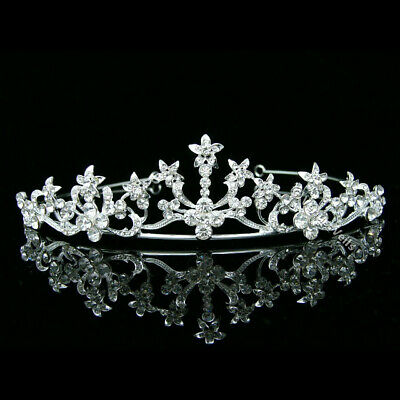 Bridal Headpiece Crystal Rhinestone Prom Wedding Floral Tiara V636