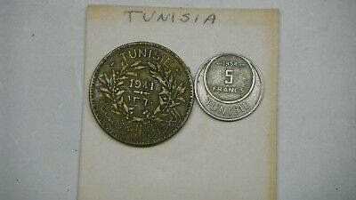 1941 Tunisia 2 francs KM#248  Tunisia beautiful  Bon Pour &1954 -5 francs km#31