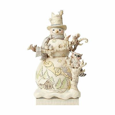 4058733 Jim Shore Woodland White Snowman Statue NIB