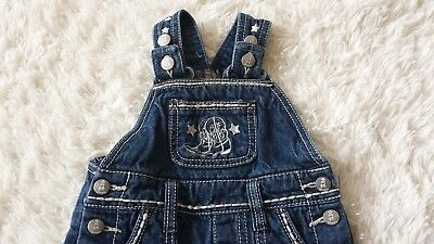 WRANGLER BABY GIRL 3-6 MONTHS JEAN OVERALLS Blue Denim Western Rodeo Cowgirl