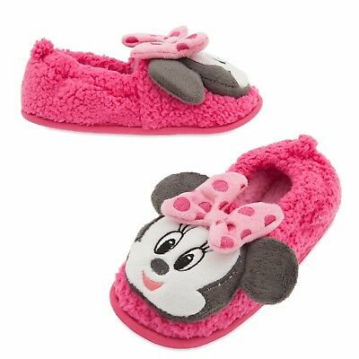 NEW NWT Girls Disney Store Minnie Mouse Toddler Slippers 5/6 7/8 11/12 or 13/1