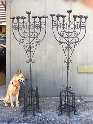 Pair Of Spanish Revival Black Wrought Iron Floor Candleabras