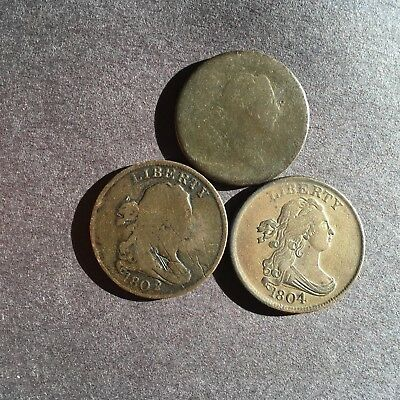 1802, 1804, DRAPED BUST and 1794 LIBERTY CAP HALF CENTS in 3 COIN LOT