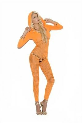 SEXY & COOL HOODED CROCHET BODYSTOCKING LINGERIE - NEON ORANGE -One Size