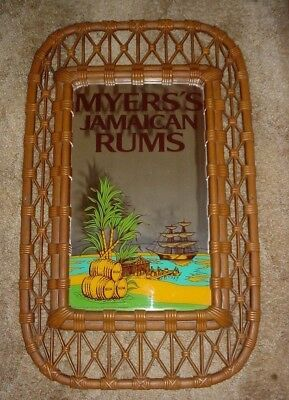 vintage myers myers's jamaican rums rum mirror 31 x 19 mancave bar