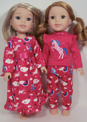 2 sets UNICORN Pjs &Nightgown Doll Clothes For 14 AG Wellie Wisher Wishers (Debs