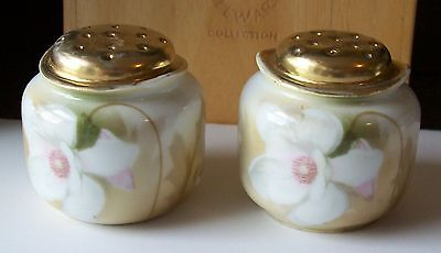Antique Mitchell Woodbury GOLD-TOPPED SALT & PEPPER SHAKERS White Flower GERMANY