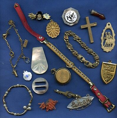 lot of Victorian & Vintage Pieces Jewelry Parts As Is Lockets MOP etc