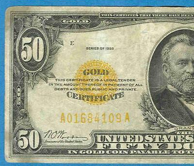 $50. 1928 Gold Seal Gold Certificate Average Circulated No Reserve
