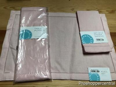 NEW Martha Stewart Easter Set - 4 Placemats, 4 Napkins, 1 Table Runner in Pink