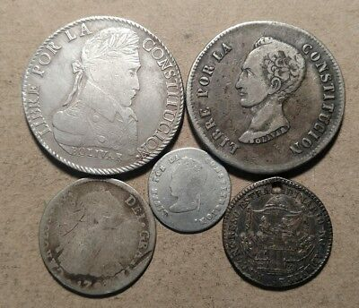 1828 1848 Bolivia 8 Soles 1855 Proclamation Medal Holed Culls Lot Group Cull