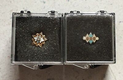 2 Early International Harvester Service Pins One Is 10k Gold Diamonds Logo