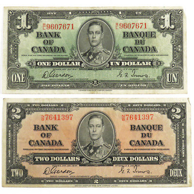 Lot of 2 - 1937 $1 & $2 Bank of Canada Banknotes