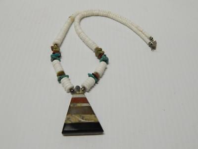 Vintage Santo Domingo Indian Turquoise Sterling +Glass Bead Necklace  A+Pendant