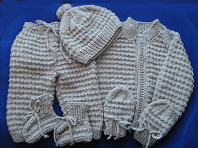 Hand Knitted baby set, layette, Pram set..2 to 4 months .8 Ply, Baby Shower Gift