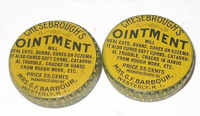 2 Chesbroughs Ointment Medicine Tin Lot GF Barbour Westerly RI EARLY Cure All