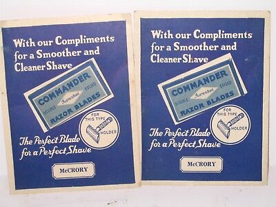 2 Commander Brand Razor Blade Display Cards with Mounted McCrory Wrapped Blades