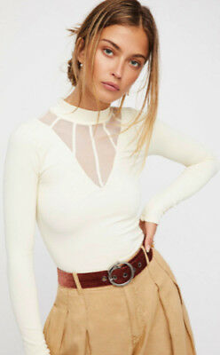 6eaf5030e1 NEW Free People Intimately Mesh Cage Mock Neck Top Ivory Size XS S   M