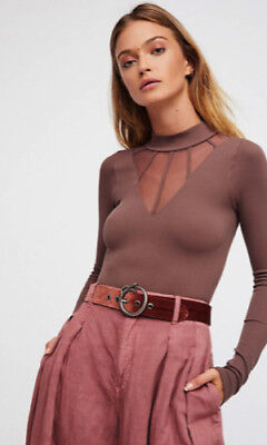 93a247f436 NEW FREE PEOPLE Intimately Mesh Cage Mock Neck Top Mink Size XS S ...