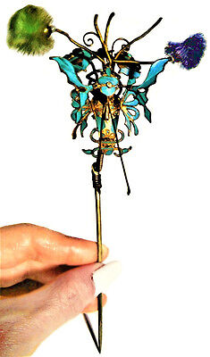 Antique Chinese Kingfisher Feather Hair Stick Trembler Butterfly Qing Stamp Tier