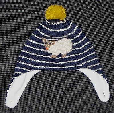 Mini Baby Boden Trapper Winter Blue Stripe Hat Boy's Girl's  Toddler 12-24 Mos