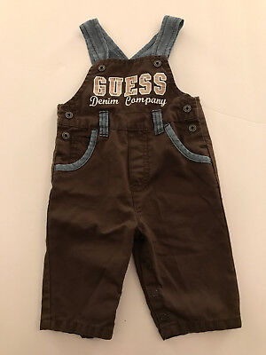 Baby Guess Jeans, Overalls denim and dark brown 100% cotton Size 0/3 months