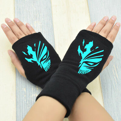 Anime Bleach Kurosaki ichigo Cosplay Cotton Knitted Gloves Fingerless Mitten #1
