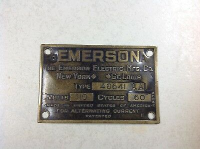 Vintage Antique Original Emerson Electric Fan Motor ID Tag Plate Type 48641 AA