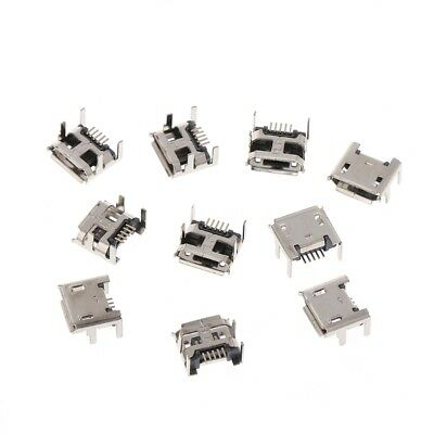 10Pcs Micro USB Type B 5 Pin Female Socket Connector SMD 4 Legs 90 Degree