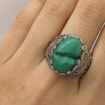 Antique Asia 925 Silver Real Large Malachite Gem Floral Ring Size 9