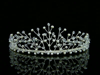 Handmade Bridal Headpiece Freshwater Pearl Rhinestone Crystal Wedding Tiara TH14