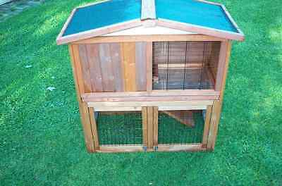 2 Storey Rabbit Guinea Pig Hutch Cage W/ Trays Chicken Hen Ferret Coop Pet House