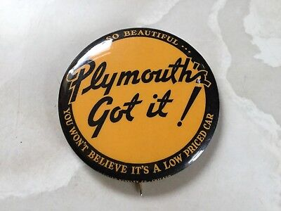 #2 Original PLYMOUTH Automobile pinback Button Pin car dodge advertising sign