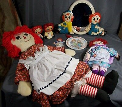 7Pc.Raggedy Ann& Andy Items(1977 Mirror,1969 Plate,2 Japan Figurines,2Dolls ect