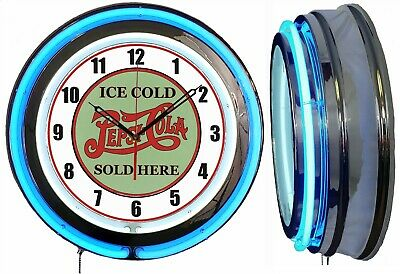 "Pepsi Cola Ice Cold Sold Here 19"" Double Neon Blue Clock Vintage Look Mancave"