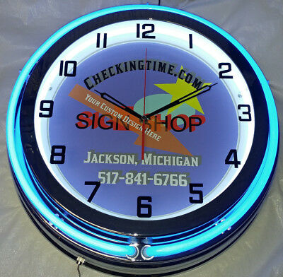 """Custom 19"""" Double Neon Clock with YOUR CAR TRUCK Picture Choice of Neon Color"""