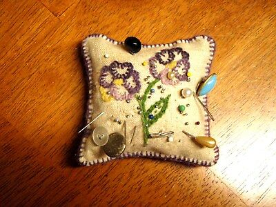 Vintage Folk Art Pin Cushion Hat Pins Sewing Pansy Embroidery Primitive Antique
