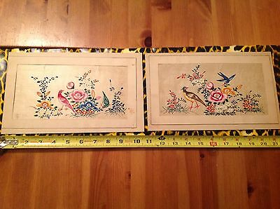 Two Vintage Chinese Matted Painting On Silk Gold Leaf Of Birds & Floral Scene