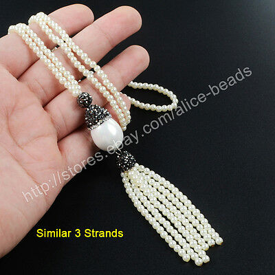 "3Pcs 27"" White Shell Pearl With CZ Paved Pearl Bead Tassel Chain Necklace TJA383"