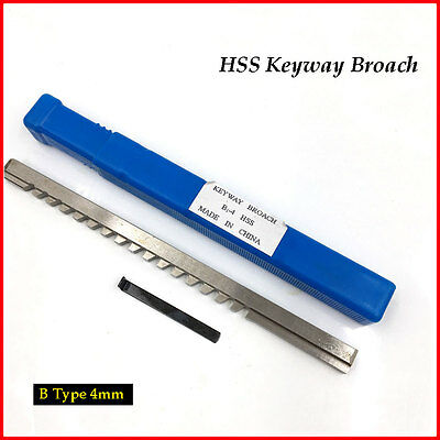 US! Keyway Broaching Tool 4mm B Push Type Broach Cutting Cutter for Metalworking