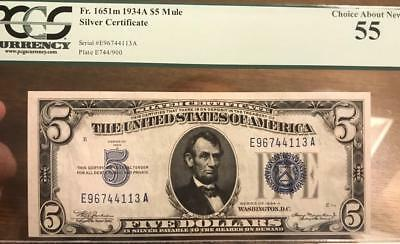 1934A $5 EA Mule Silver Certificate - PCGS Choice Almost Uncirculated AU 55 C2C
