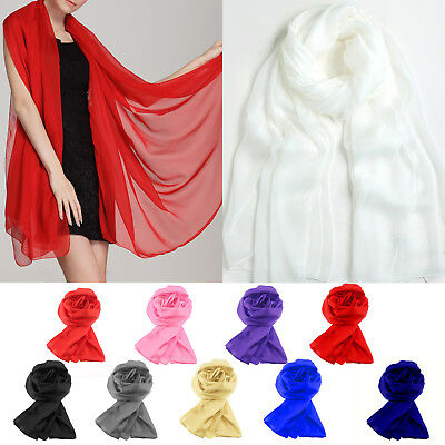 Ladies Satin Long Scarves Bridesmaid Prom Cover Shawl Stole Wrap Scarf Pashmina